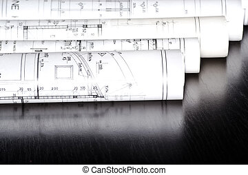 strůjce, závitky, a, nakreslit plán