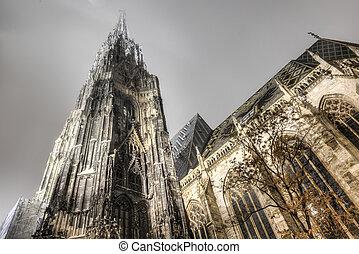 str., österreich, stephan, kathedrale, nacht, wien