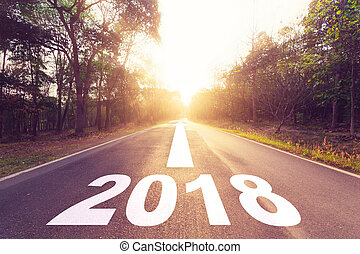 straße, asphalt, concept., ziele, jahr, neu , leerer , 2018