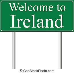 straße, begriff, irland, willkommenes zeichen