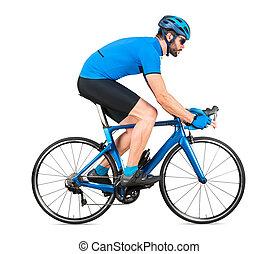straße, blaues, übung, weißes, freigestellt, hintergrund, fahrrad, racer, kohlenstoff, training, cycle., begriff, professionell, licht, jersey, rennen, sport, radfahrer, rennsport, radfahren, sport