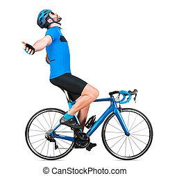 straße, blaues, übung, win., weißes, freigestellt, hintergrund, fahrrad, racer, kohlenstoff, feiern, training, zyklus, begriff, professionell, licht, jersey, rennen, feier, sport, radfahrer, gewinner, rennsport, radfahren, sport