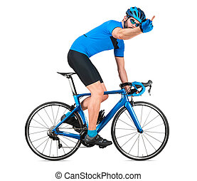 straße, blaues, mitte, seine, weißes, freigestellt, hintergrund, fahrrad, wut, racer, kohlenstoff, training, begriff, ausstellung, professionell, licht, böser , jersey, rennen, sport, radfahrer, rennsport, gefuehle, finger., radfahren, sport