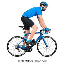 straße, blaues, weißes, bergauf, freigestellt, hintergrund, fahrrad, racer, kohlenstoff, training, aufstieg, begriff, professionell, licht, jersey, hochklettern, pferdesattel, rennen, sport, position, heraus, radfahrer, rennsport, radfahren, sport
