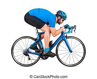 straße, blaues, weißes, freigestellt, hintergrund, fahrrad, racer, kohlenstoff, training, begriff, professionell, licht, jersey, rennen, sport, position, radfahrer, rennsport, radfahren, aerodynamisch, bergab, abstieg, sport