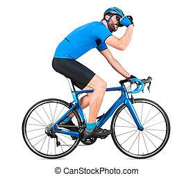 straße, blaues, weißes, freigestellt, trinken, hintergrund, fahrrad, racer, kohlenstoff, training, begriff, professionell, licht, jersey, rennen, bottle., sport, radfahrer, heraus, rennsport, radfahren, wasser, sport