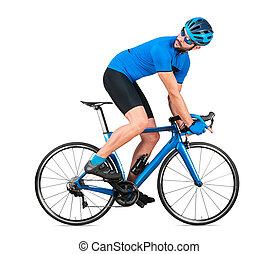 straße, blaues, weißes, freigestellt, zurück, hintergrund, fahrrad, racer, kohlenstoff, training, behind., begriff, professionell, licht, jersey, rennen, sport, radfahrer, rennsport, radfahren, sport, schauen