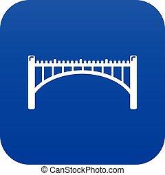 straße, bogenbrücke, ikone, blaues, vektor