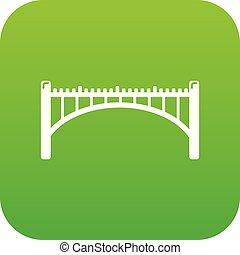 straße, bogenbrücke, ikone, grün, vektor