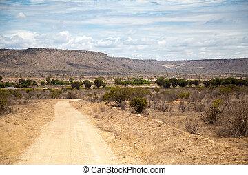 straße, in, kenia, savanne, mit, berge, blau, himmelsgewölbe