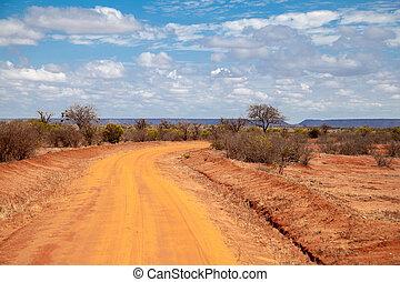straße, in, kenia, savanne, mit, berge, blau, himmelsgewölbe, und, bäume