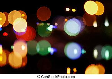 straße, lights., schöne , hintergrund, auf, dunkel, fokus, lichter, während, der, night.