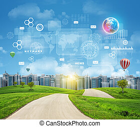 straße, mit, grün, grass., gebäude, erde, und, andere, virtuell, elemente, als, hintergrund