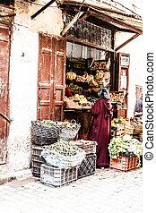 straße, morocco., town)., medina, fez, (old, klein