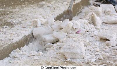 straße reinigungsmittel, hacken, zusammengepresst, schnee