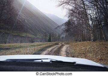 straße reise, durch, der, natur, von, europe., auto-...