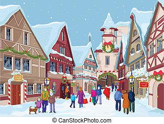 straße, shoppen, weihnachten