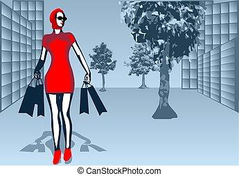 straße, shoppen