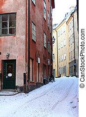 straße, stockholm, winter