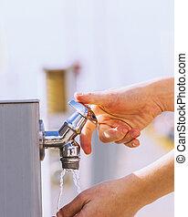 straße, trinken, leitungswasser, frau