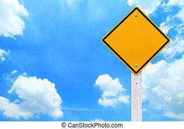 straße unterzeichnet, leer, gelber , warnung, mit, himmelsgewölbe, hintergrund, (clipping