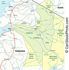 straße, vektor, park, landkarte, national, serengeti, ...