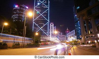 straße, verkehr, in, hongkong, nacht, timelapse