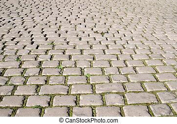straße, von, cobblestones., zwischen, der, steine, der, grünes gras, grows