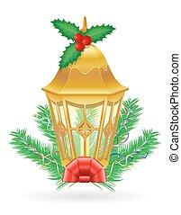straße, weinlese, abbildung, vektor, retro, licht, weihnachten