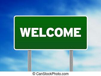 straße zeichen, herzlich willkommen