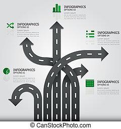 straße, &, zeichen, infographics, design, schablone