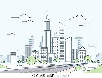 straße, zu, modern, stadtansicht, wolkenkratzer, cityscape