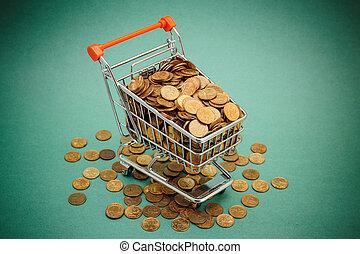 straßenbahn, grün, geldmünzen, shoppen, hintergrund