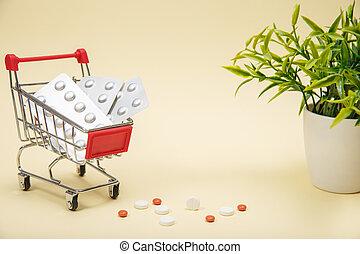 straßenbahn, medizinprodukt, shoppen, pillen