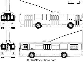 straßenbahn, städtisch, zeichnung, schematisch