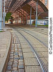 straßenbahn station, mit, a, baldachin