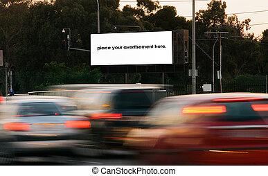 straßenrand- annoncieren, leer, werbewand