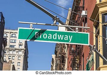 straßenschild, broadway, in, new york