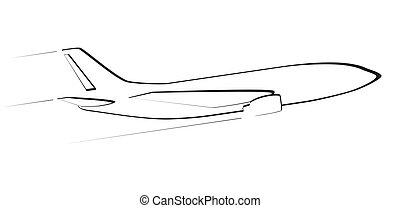 straalvliegtuig, aircraft., moderne, flight., omtrek, overzicht., bovenkant