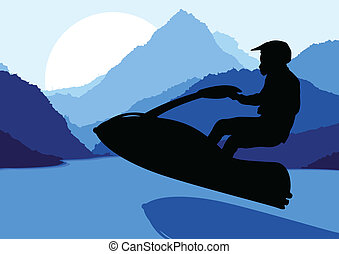 straalvliegtuig, water, vector, motorfiets, achtergrond, sportende, ski, passagier