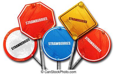 straat, aardbeien, 3d, vertolking, tekens & borden
