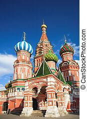 straat., basil\'s, kathedraal, op, rode plein, moskou,...