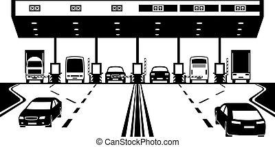 straat, belasting, controlepost, op, snelweg