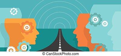 straat, concept, vooruit, onzekerheid, veranderen, reis, hoop, toekomst, leider, visie, plan