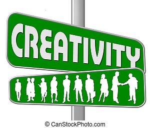 straat, creativiteit, meldingsbord