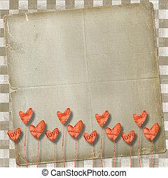 straat., dag, kaart, hartjes, groet, valentine