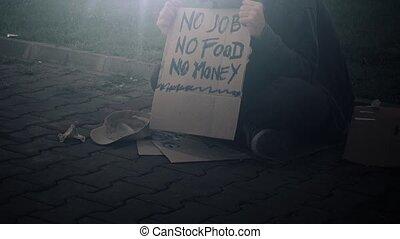 straat, dakloos, man