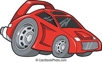 straat, de auto van het ras, vector, illustratie