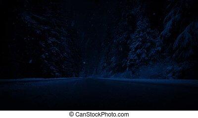 straat, door, bos, in, sneeuwval, op de avond