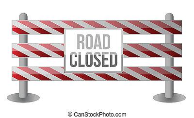 straat, enkel, gesloten, barrière